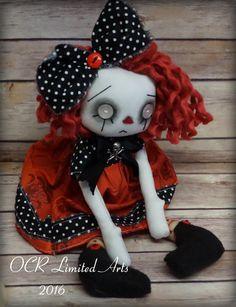 Red, Cloth Art  Ghost Goth Raggedy Ann style Doll ooak Handmade creepy cute by OCRLimitedArts on Etsy