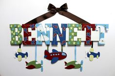 Airplane Baby Name Sign in Blue Red Brown Green Hand Painted Custom Nursery Decor - Personalized Aviation Wall Letters With Hanging Shapes on Etsy, $62.00