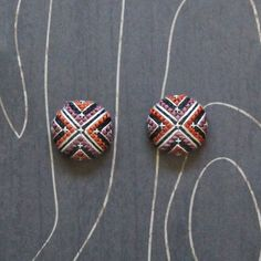 North Star Cross Stitch Earrings by TheWerkShoppe on Etsy, $32.00