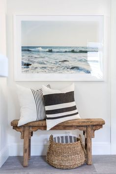Home Design Ideas: Beach House Style Cozy Home Decorating Ideas Cozy Boho Beach . Home Design Ideas: Beach House Style Cozy Home Decorating Ideas Cozy Boho Beach Spaces Beach House Foyers Sitting area with bench Coastal Bedrooms, Coastal Living Rooms, Beach Living Room, Beach Room, Living Room Decor Nautical, Scandi Bedroom, Coastal Master Bedroom, Coastal Wall Decor, Coastal Rugs