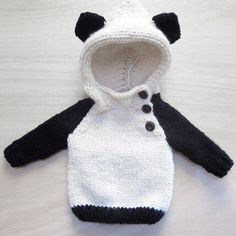 Whats cuter than a baby panda? Why, a human baby dressed up as a panda of course! Made with a chunky wool blend for durability and coziness, this Knitting For Kids, Baby Knitting, Little Babies, Baby Kids, Baby Boy Outfits, Kids Outfits, My Bebe, Baby Pullover, Baby Sweaters