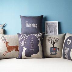 Cervo decorativo almofada travesseiro cobre azul capa de almofada ikea fronha