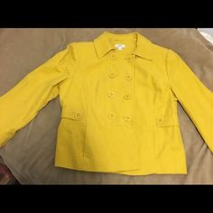 Ann Taylor Loft Jacket Yellow 100% cotton, double breasted jacket. Worn once for like an hour. In great condition. All buttons are firmly attached. Ann Taylor Loft Jackets & Coats Blazers