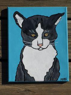 Cutie cat original painting  8 by 10 by MichelesArtShop on Etsy, $35.00
