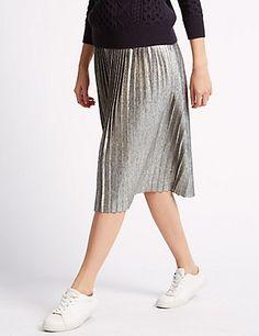 Metallic Pleated Midi Skirt   M&S