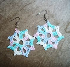 Brinco de Crochê Mandala Roca Mesclado / Earrings Crochet Distaff Mandala Mixed