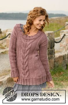 """Ravelry: 132-3 """"A TASTE OF FALL"""" - Jumper with cables pattern by DROPS design"""