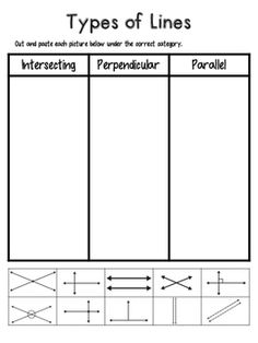 Students sort three types of lines: parallel, intersecting, and perpendicular. They cut out 10 pictures and glue them under the correct category. Great for centers!
