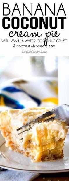Banana Coconut Cream Pie with Vanilla Wafer Coconut Crust