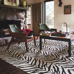 Flor - Mod Zebra II in Black and White, carpet tiles that can be used in residential/light commercial Dark Brown Carpet, Black And White Carpet, Black White, White Zebra, Interior Exterior, Home Interior, Interior Design, Interior Ideas, Zebra Print Rug