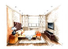 interior perspective drawing sketch education living point wallpapers architecture