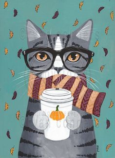 Autumn Pumpkin Grey Tabby Coffee Cat Original by KilkennyCatArt