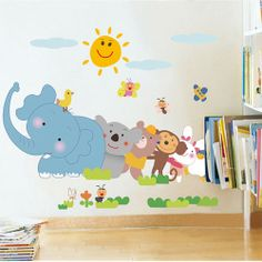Cheap Wall Decals - New Child Elephant Monkey Animal Kid's Room Wall Sticker #KidsWalldecals #walldecals #walldecors #wallarts #wallstickers