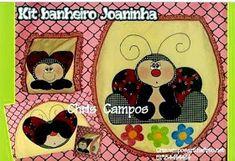 Moldes Para Artesanato em Tecido: Kit Banheiro joaninha com moldes Lady Bug, Draft Stopper, Arts And Crafts, Diy Crafts, Applique Quilts, Free Sewing, God Loves Me, Beautiful Cats, Cool Art