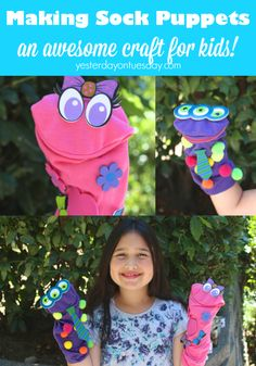 How to make a sock puppet, an awesome boredom busting craft for kids with supplies from @daricecrafts #kidscrafts #puppets #spon