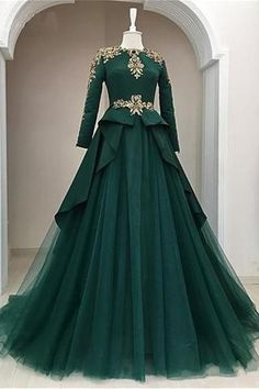 Dark Green Satin Tulle O Neck Long Sleeve Arabic Formal Prom Dress With Applique is part of Formal dresses prom - heels' height If long sleeves dress, please also left upper arm size, wrist size, length for arm to wrist Indian Gowns Dresses, Evening Dresses, Prom Dresses, Formal Dresses, Formal Prom, Dress Prom, Long Dresses, Muslim Prom Dress, Pakistani Gowns