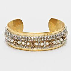 Crystal Bead Pearl Strand Cuff