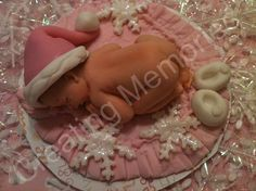 Baby Girl Cake Topper Winter Wonderland setting with by anafeke