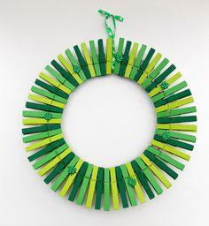 St Patrick's Day Clothes Peg Wreath   WallflowersbyKerri on Etsy