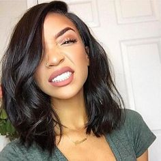 Human Hair Lace Front Wig Brazilian Hair Wavy Short Bob 130% Density With Baby Hair Glueless Natural Hairline Nature Black Short Medium 2018 - $95