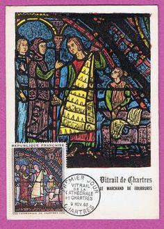 CARTE MAXIMUM  1er JOUR - VITRAIL CATHEDRALE DE CHARTRES -  9 NOV 1963