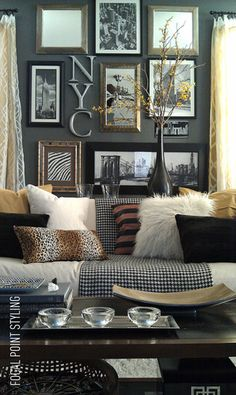 Eclectic picture wall, array of fur-themed pillows (prints & textures). Pair with gray.