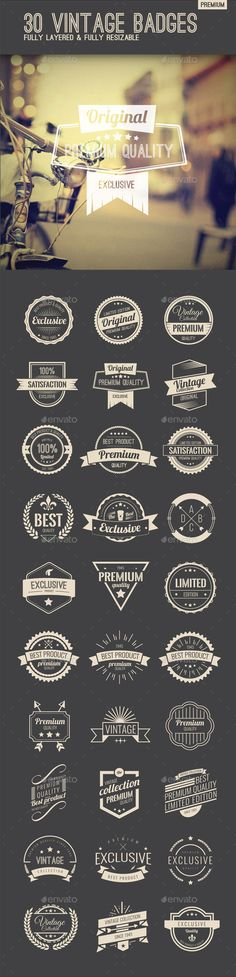 Premium Quality Vintage Badges Template Vector EPS, AI Illustrator. Download here: http://graphicriver.net/item/premium-quality-vintage-badges/14952985?ref=ksioks