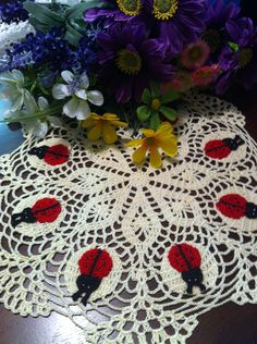 LadyBug crochet doily by DoilyMania on Etsy