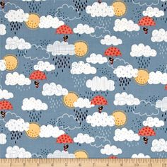 Windy Day Clouds Blue from @fabricdotcom Designed by The Henley Studio for Makower UK for Andover, this cotton print is perfect for quilting, apparel, and home decor accents. Colors include steel blue, cream, tan, orange, and brown.