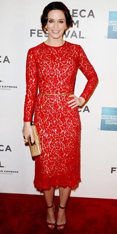 Emily Blunt in a lace Michael Kors dress (F/W 2012) to the premiere of Your Sister's Sister at the Tribeca Film Festival.