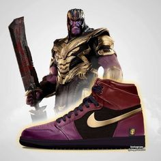 Artist CK_creative shared some cool Avengers: Endgame Air Jordans designs featuring Iron Man, Thanos and Marvel Shoes, Marvel Clothes, Air Jordans, Estilo Nike, Avengers, Sneakers Fashion, Sneakers Nike, Sneaker Art, Fresh Shoes