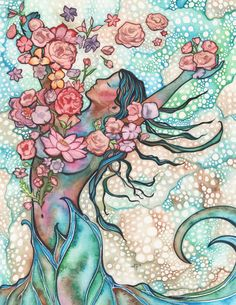 Tidal Bloom 8.5 x 11 print of detailed watercolour artwork in turquoise peach rose pink blush earth tones, sacred gaia goddess divine female by DeepColouredWater on Etsy https://www.etsy.com/listing/219463367/tidal-bloom-85-x-11-print-of-detailed