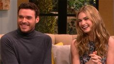 "LILY JAMES & RICHARD MADDEN ON BEING PERFECT ANGELS FOR CINDERELLA – Lily James & Richard Madden talk bringing Disney's ""Cinderella"" to life. When did they meet during the pre-production process?"