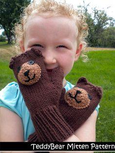 Teddy Bear Mittens for Children Knitting Pattern Teddy Bear Knitting Pattern, Animal Knitting Patterns, Mittens Pattern, Knit Mittens, Crochet Patterns, Crochet Ideas, Knitting For Kids, Knitting Projects, Knitting Ideas