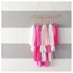 Our Tassel Chandelier in {Pretty in Pink} #partydecor #nursery #homedecor #tassels #tasselgarland #babyshower #bridalshower #wedding