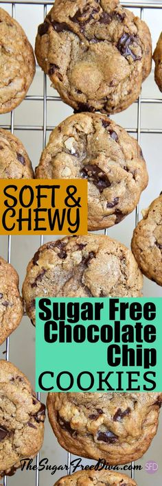 They are gooey and they are amazing! This is the best recipe for delicious Soft and Chewy Sugar Free Chocolate Chip Cookies Sugar Free Cookie Recipes, Sugar Free Deserts, Low Sugar Desserts, Sugar Free Cookies, Low Carb Sweets, Diabetic Desserts, Diabetic Recipes, Cookies Soft, Diabetic Foods