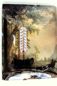 Vintage Thermometer, Advertising, Concave Glass,Silhouette Painting, Covered Wagon Cowboy, 1930s, Mountain Landscape, Business Advertising. I