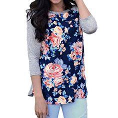 Gillberry Women Cotton Floral Splicing Three Quarter Sleeve TShirt Blouse XL Blue