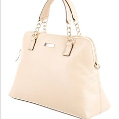 Kate Spade Small Rachelle Satchel NWT. Cream beige leather with gold hardware. Includes dust bag. kate spade Bags Satchels