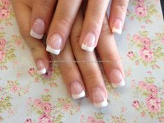 Acrylic nails with French gel polish