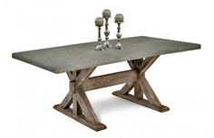 Rustic Chic Dining Table with Concrete Top