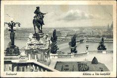 Kilátás a királyi várból egy korabeli képeslapról Neoclassical Architecture, Vintage Architecture, Buda Castle, Budapest Hungary, Old Photos, Statues, Sculptures, History, Country