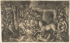 A King Pursued by a Unicorn, from the Unicorn Series Artist: Jean Duvet (French, ca. 1485–after 1561) Date: ca. 1555 Medium: Engraving, only state Dimensions: sheet: 9 1/16 x 14 13/16 in. (23 x 37.6 cm) Classification: Prints Credit Line: The Elisha Whittelsey Collection, The Elisha Whittelsey Fund, 1951 Accession Number: 51.570 Not on view This artwork is part of Search for the Unicorn: An Exhibition in Honor of The Cloisters' 75th Anniversary