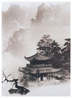 Photo painting by Chin-san Long. Stunning in black and white. Japanese Painting, Chinese Painting, Chinese Art, Zen Painting, Japanese Artwork, Landscape Tattoo, Landscape Paintings, Ink Paintings, Art Asiatique