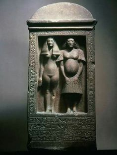 """Quartzite stela with figures of the sculptor Bak with his wife, Taheret.Amarna Period.Bek or Bak (Egyptian for """"Servant"""") was the first chief royal sculptor during the reign of Pharaoh Akhenaten.The inscription of this stela also mentions him being taught by Akhenaten."""