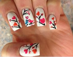 Kissing bird nails