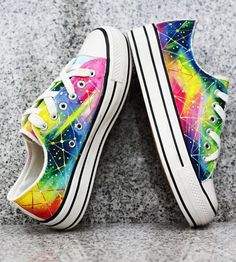 hot sales 95086 a53e2 Galaxy Canvas Shoes Rainbow Heels, Converse Shoes, Converse Low, Nike  Shoes, Shoes