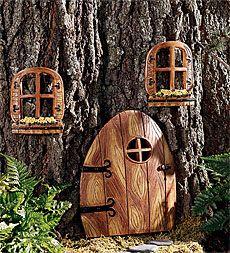 Weatherproof Elfin Tree Door And Accessories with Painted Detail