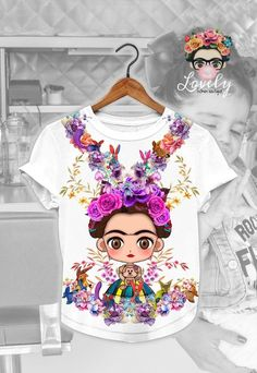 and baby aesthetic Frida Kahlo Cartoon - Frida Kahlo - Frida Tee - Frida Kahlo T-shirt - Frida Kahlo Gift - T-shirt - Tops - Tees -Woman gifts - Gift For Her. Frida Kahlo Cartoon, Frida Kahlo T Shirt, Camo Sweatshirt, Frida Kahlo Birthday, Baby Design, Baby Lernen, Anne Geddes, Mexican Outfit, Girl Birthday Themes