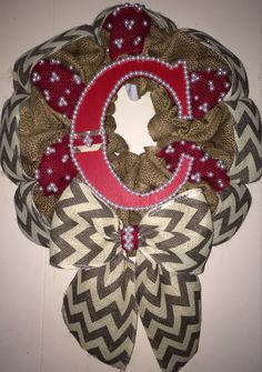 Burlap and Chevron wreath with initial!